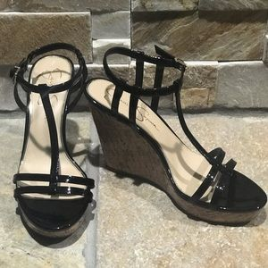 NEW, Jessica Simpson, black patent leather wedges